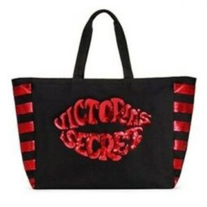 Victoria's Secret black/red sequin lips tote bag